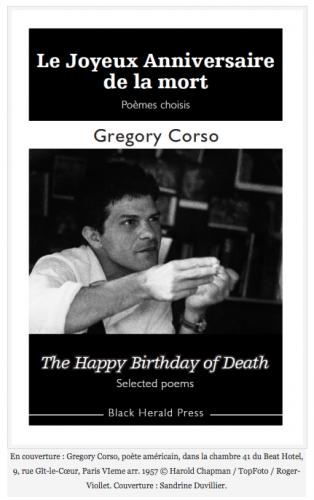 gregory corso, Blandine Longre, Le Joyeux Anniversaire de la mort, poésie, Beat generation, black herald press, Paul Stubbs, kirby olson